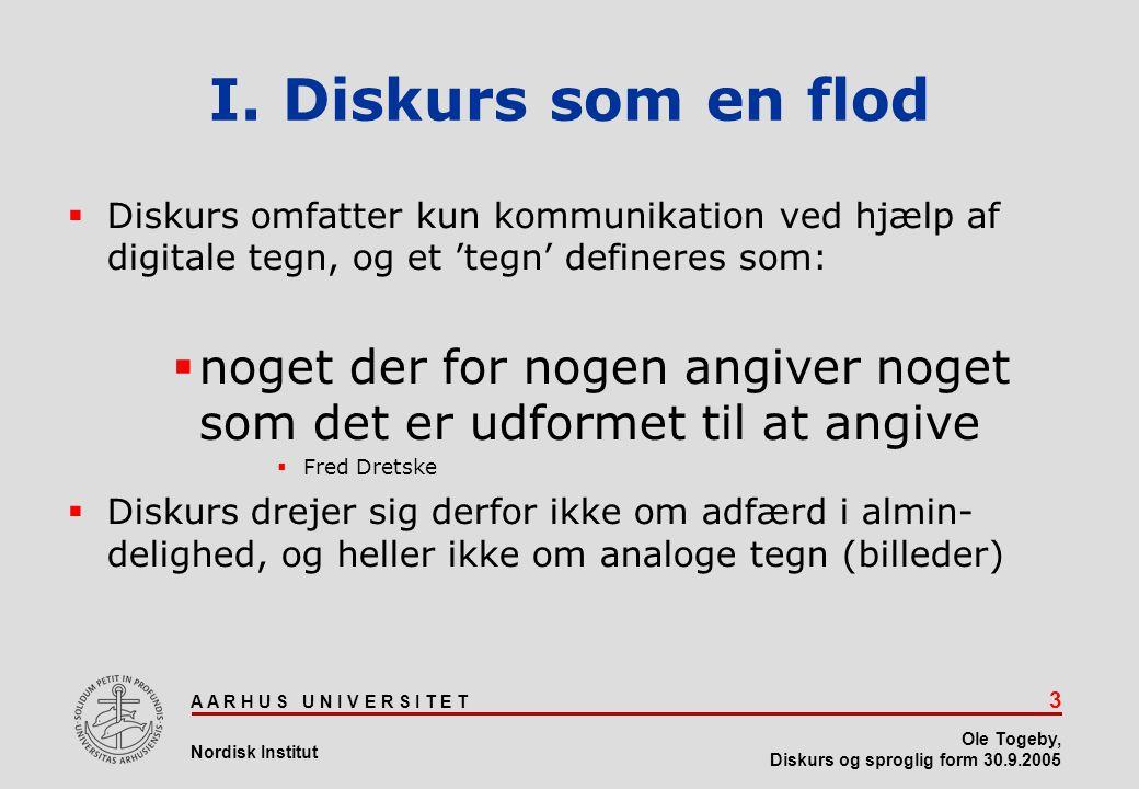 I. Diskurs som en flod Diskurs omfatter kun kommunikation ved hjælp af digitale tegn, og et 'tegn' defineres som: