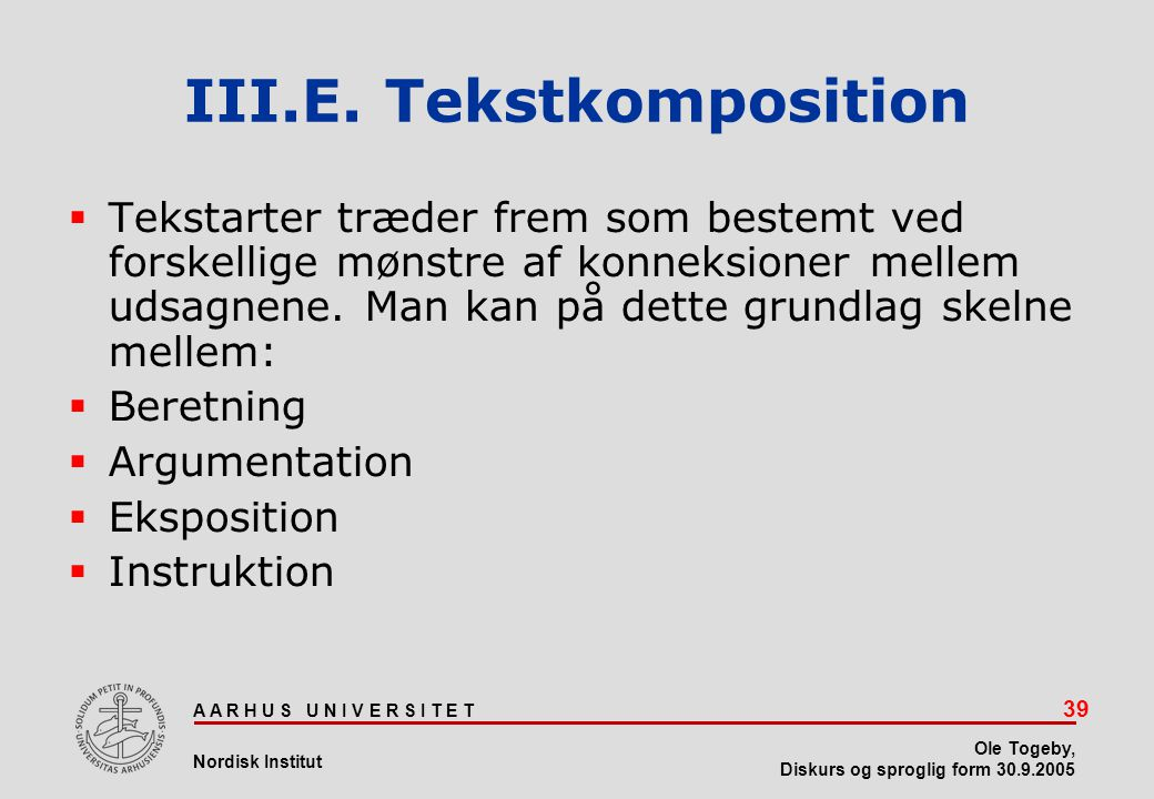 III.E. Tekstkomposition