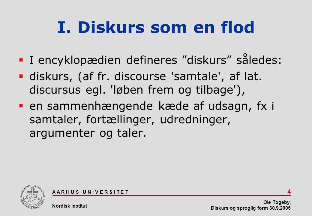 I. Diskurs som en flod I encyklopædien defineres diskurs således: