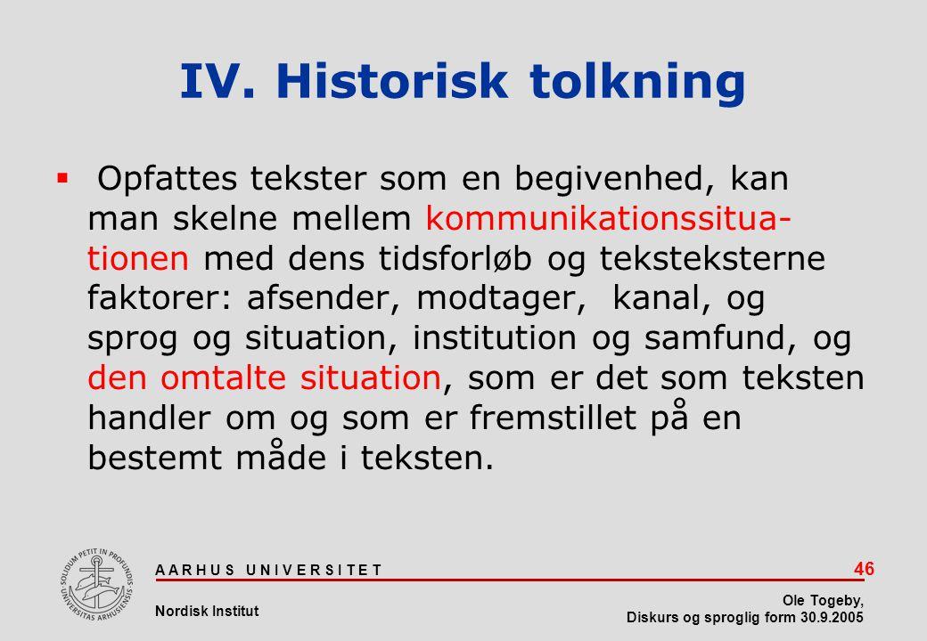IV. Historisk tolkning