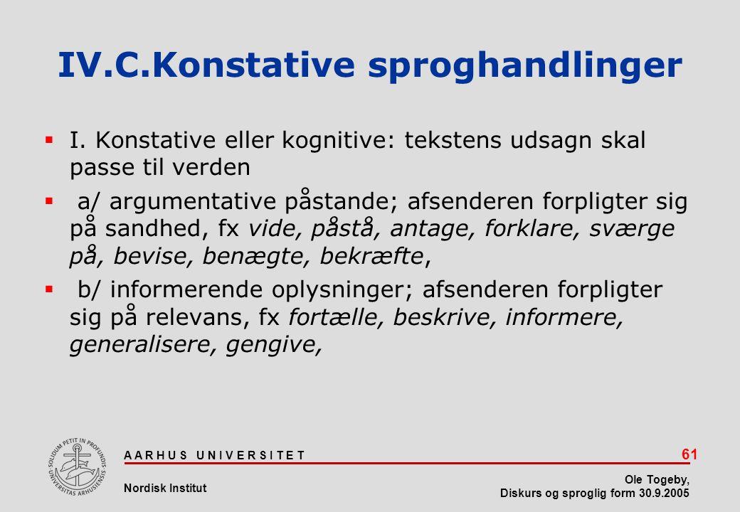 IV.C.Konstative sproghandlinger