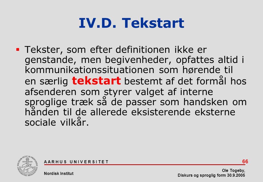 IV.D. Tekstart