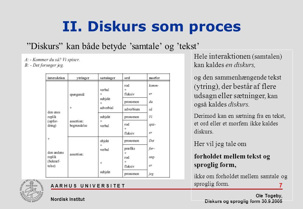 II. Diskurs som proces Diskurs kan både betyde 'samtale' og 'tekst'