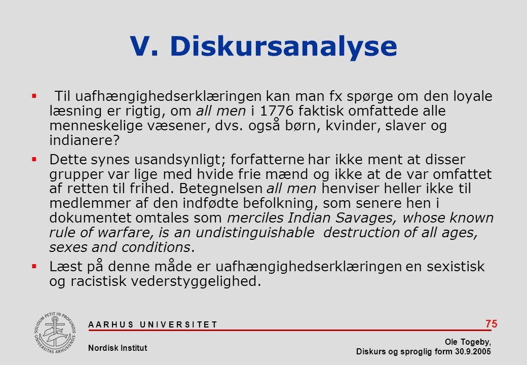 V. Diskursanalyse