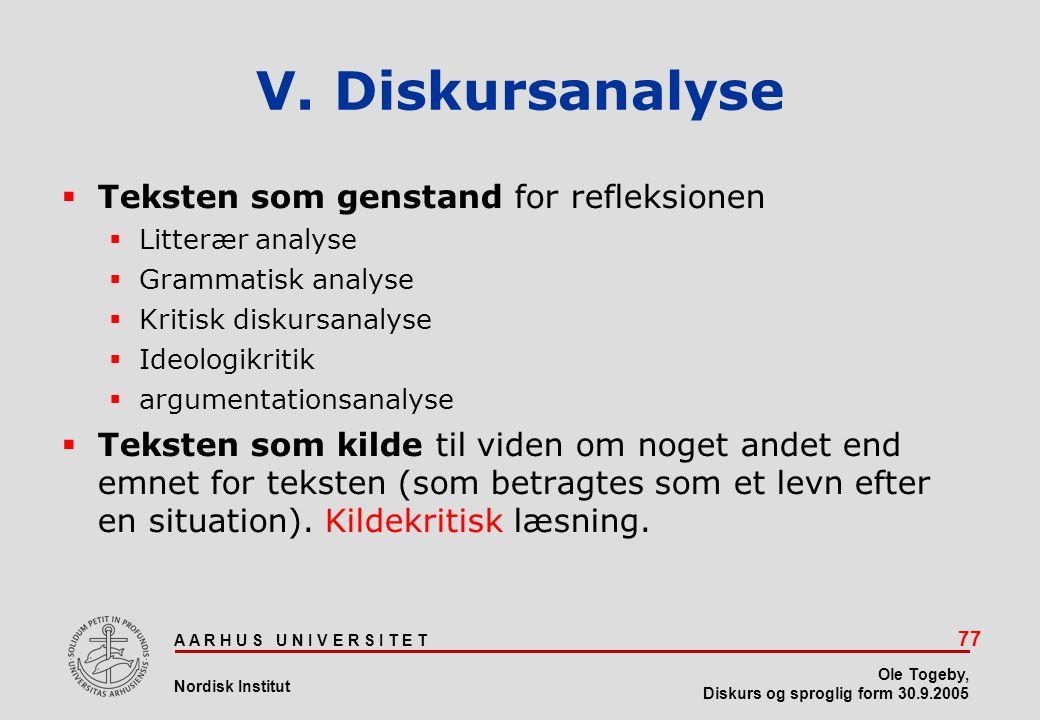 V. Diskursanalyse Teksten som genstand for refleksionen