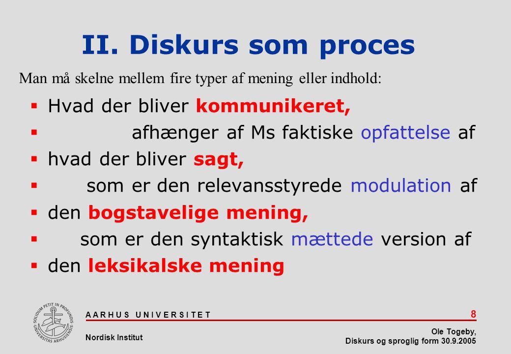 II. Diskurs som proces Hvad der bliver kommunikeret,