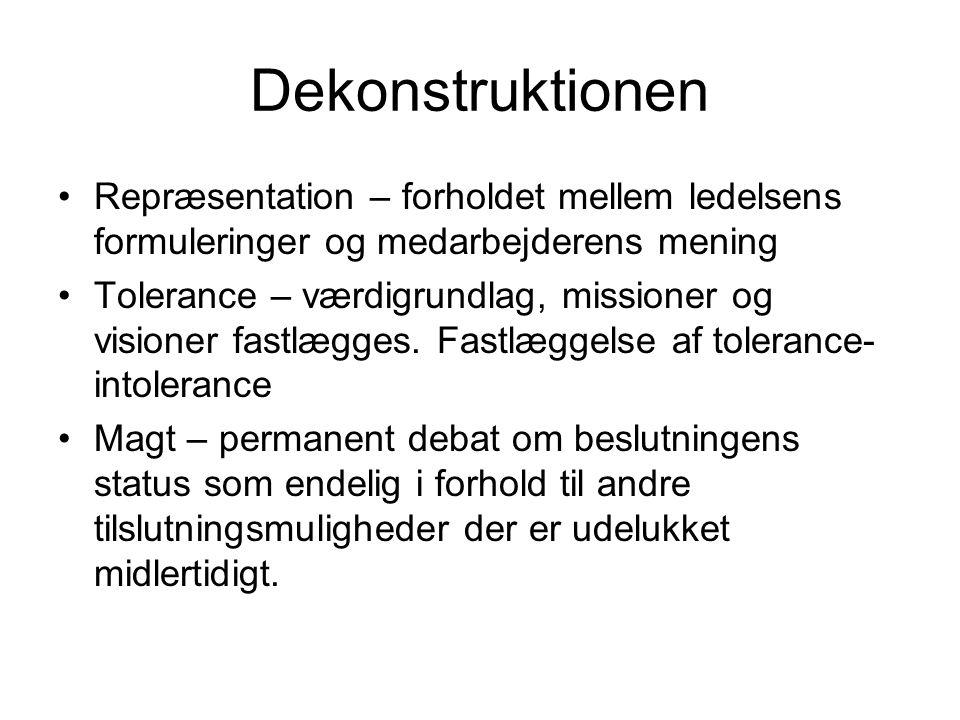 Dekonstruktionen Repræsentation – forholdet mellem ledelsens formuleringer og medarbejderens mening.