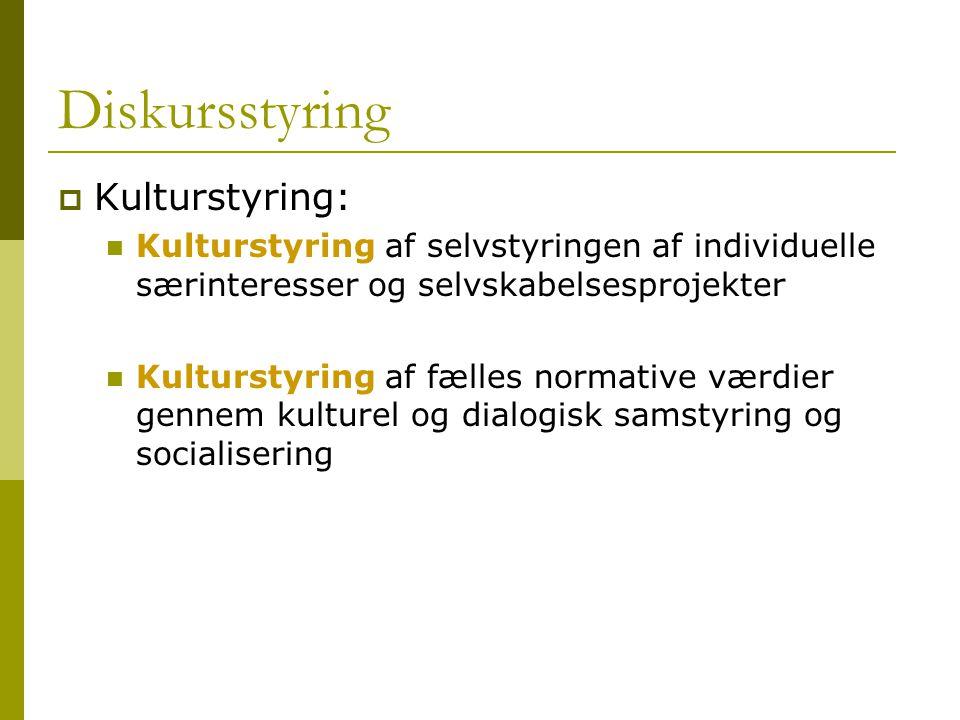 Diskursstyring Kulturstyring:
