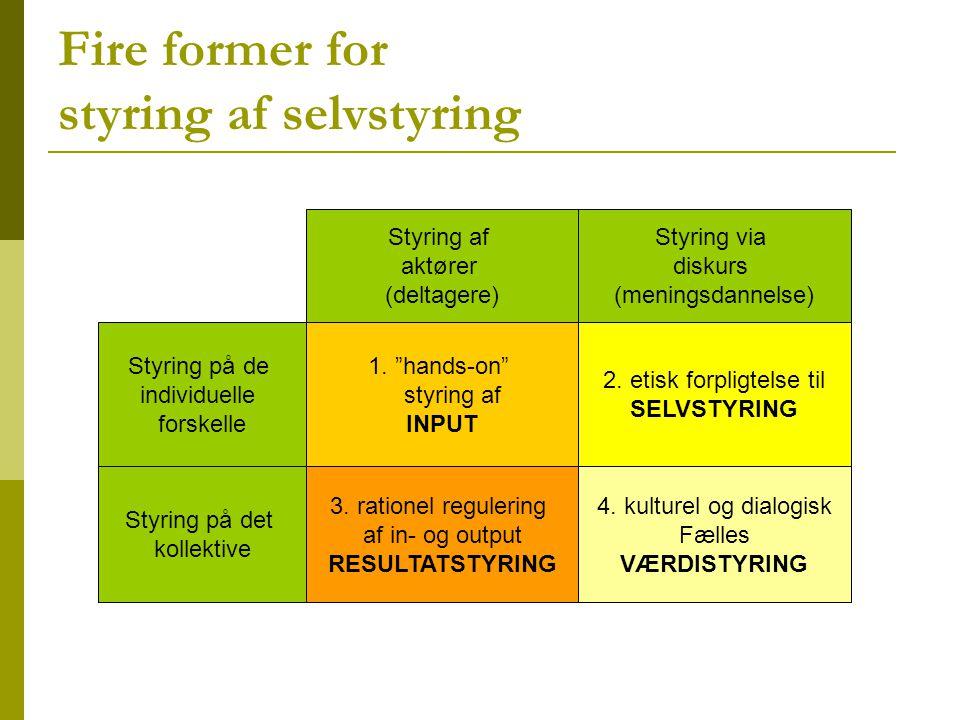 Fire former for styring af selvstyring