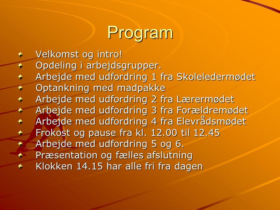 Program Velkomst og intro! Opdeling i arbejdsgrupper.