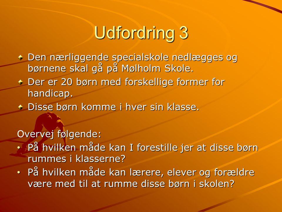 Udfordring 3 Den nærliggende specialskole nedlægges og børnene skal gå på Mølholm Skole. Der er 20 børn med forskellige former for handicap.