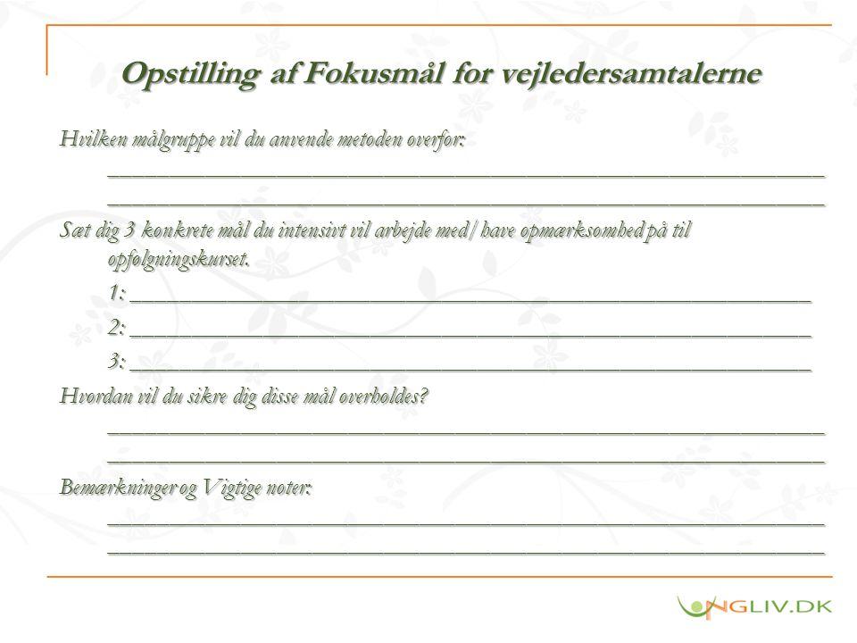 Opstilling af Fokusmål for vejledersamtalerne