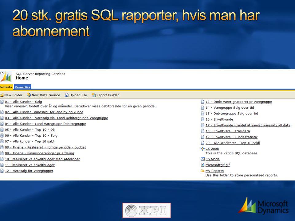 20 stk. gratis SQL rapporter, hvis man har abonnement