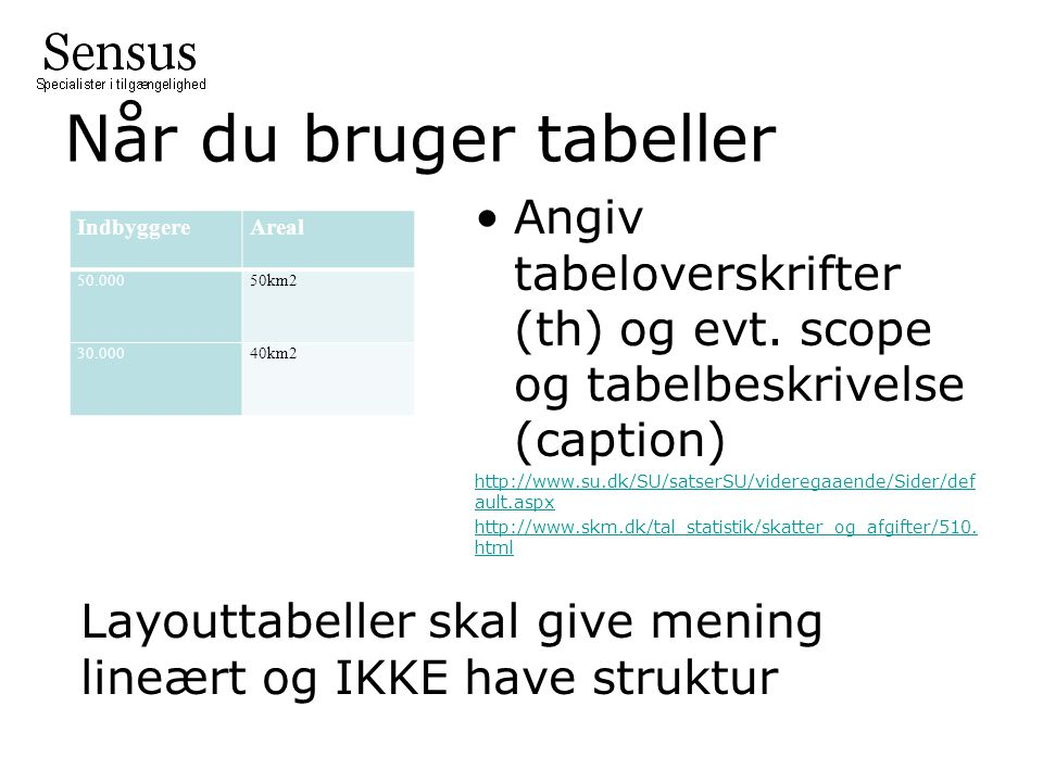 Når du bruger tabeller Angiv tabeloverskrifter (th) og evt. scope og tabelbeskrivelse (caption)
