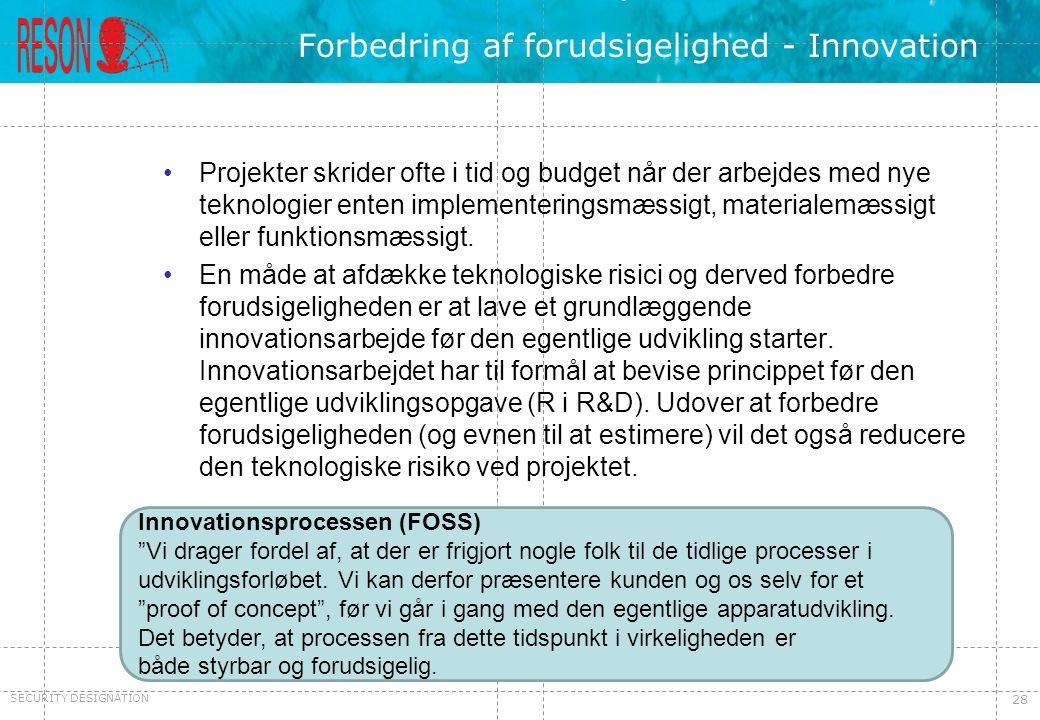 Forbedring af forudsigelighed - Innovation