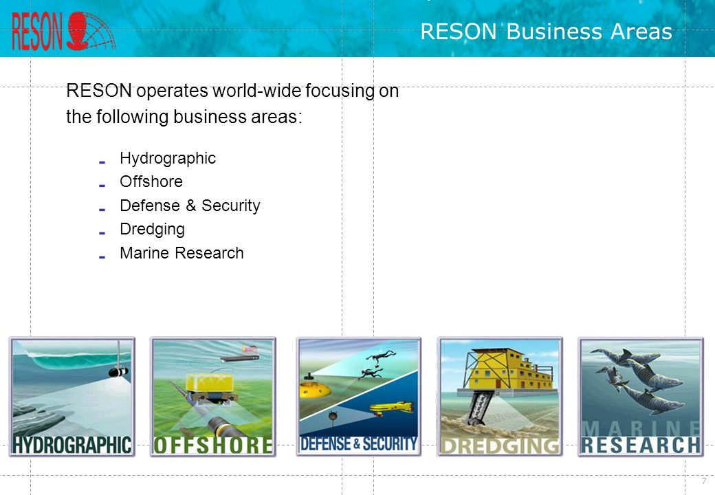 RESON Business Areas RESON operates world-wide focusing on