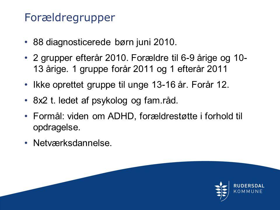 Forældregrupper 88 diagnosticerede børn juni 2010.