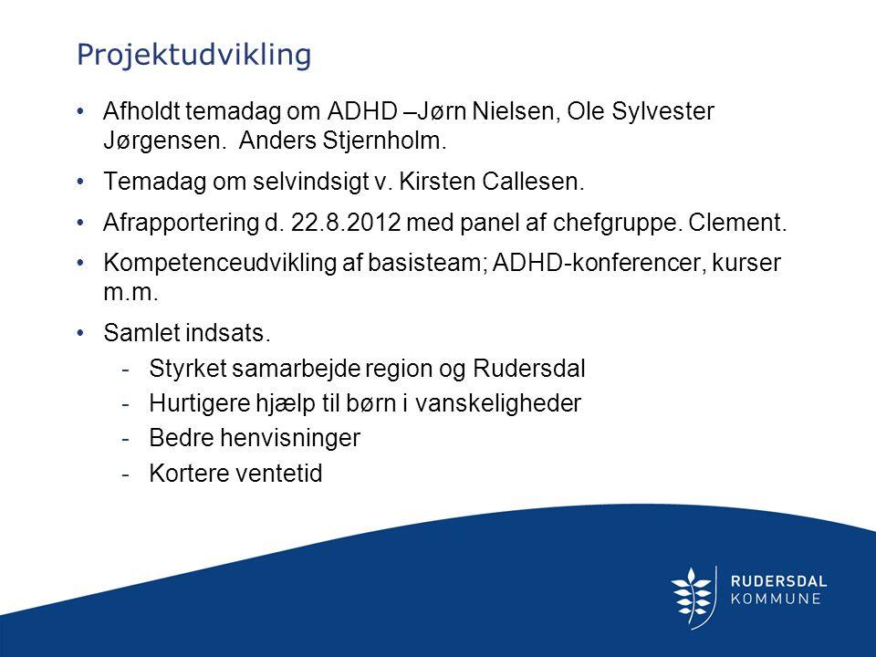 Projektudvikling Afholdt temadag om ADHD –Jørn Nielsen, Ole Sylvester Jørgensen. Anders Stjernholm.