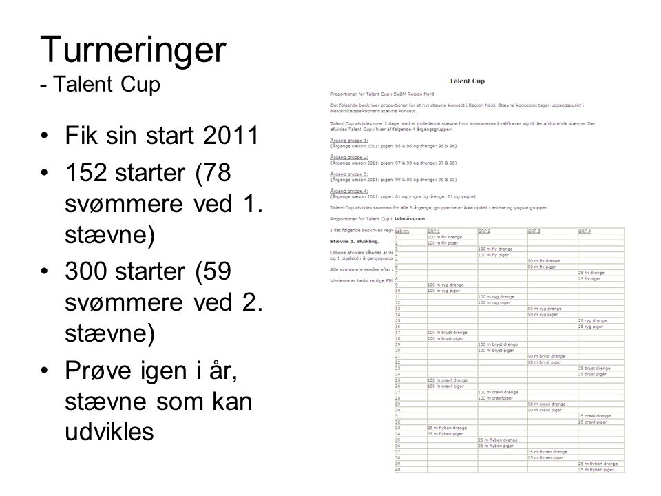 Turneringer - Talent Cup