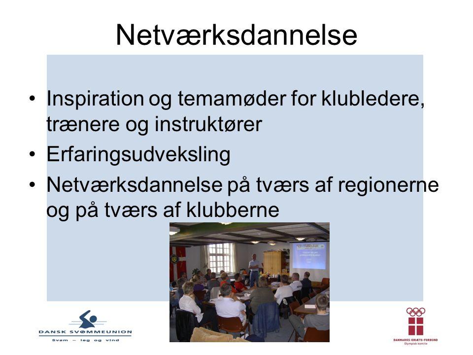 Netværksdannelse Inspiration og temamøder for klubledere, trænere og instruktører. Erfaringsudveksling.