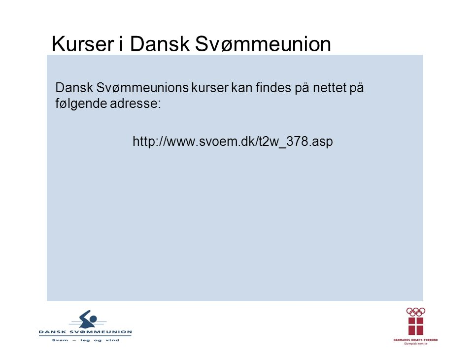 Kurser i Dansk Svømmeunion