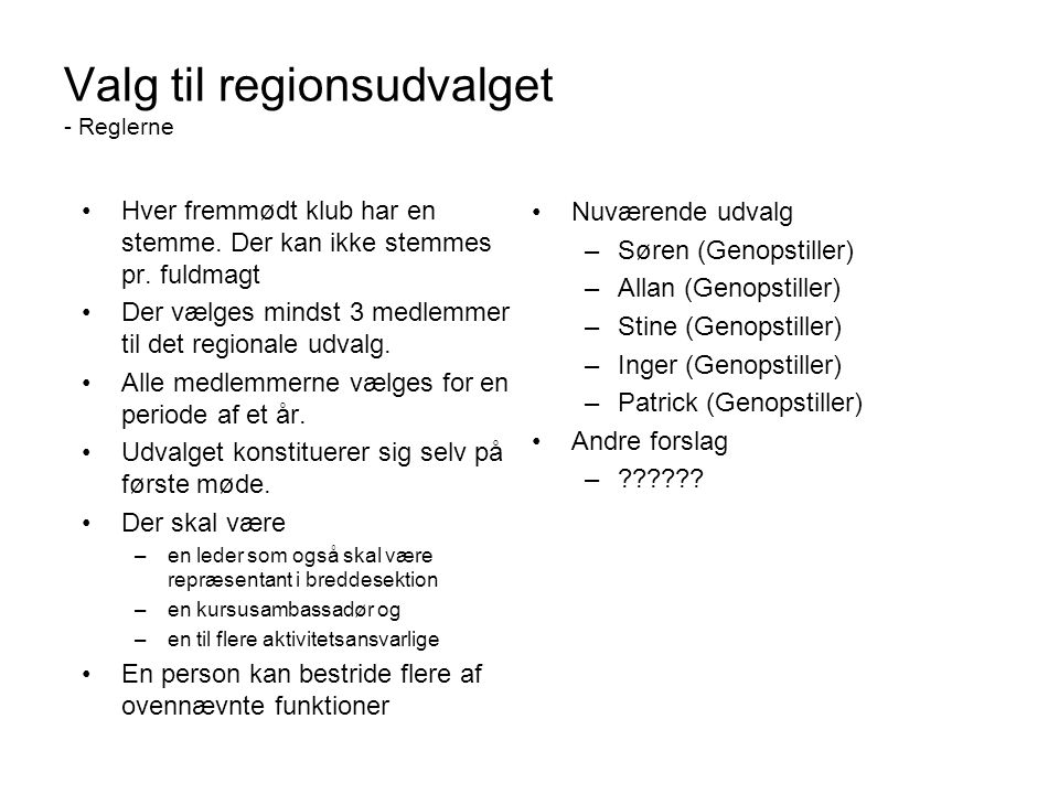 Valg til regionsudvalget - Reglerne
