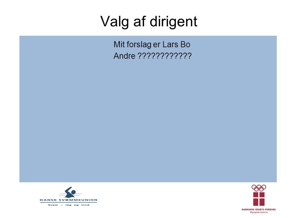 Valg af dirigent Mit forslag er Lars Bo Andre