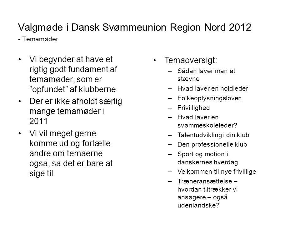 Valgmøde i Dansk Svømmeunion Region Nord 2012 - Temamøder