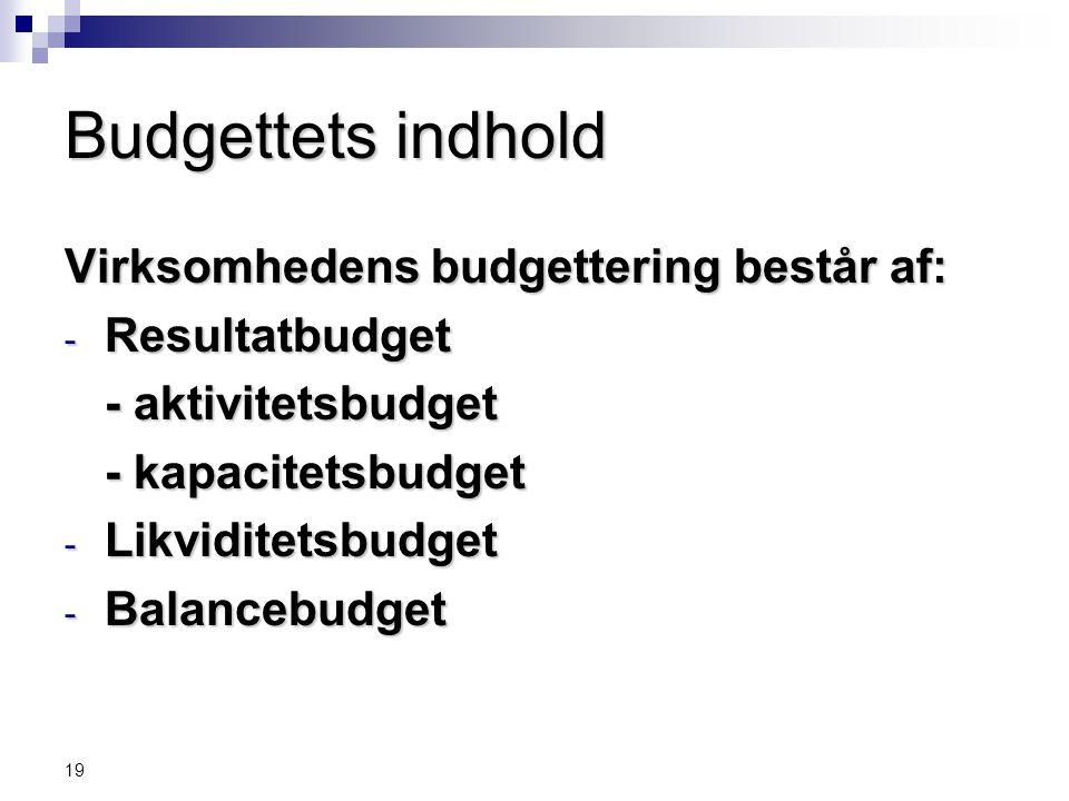Budgettets indhold Virksomhedens budgettering består af: