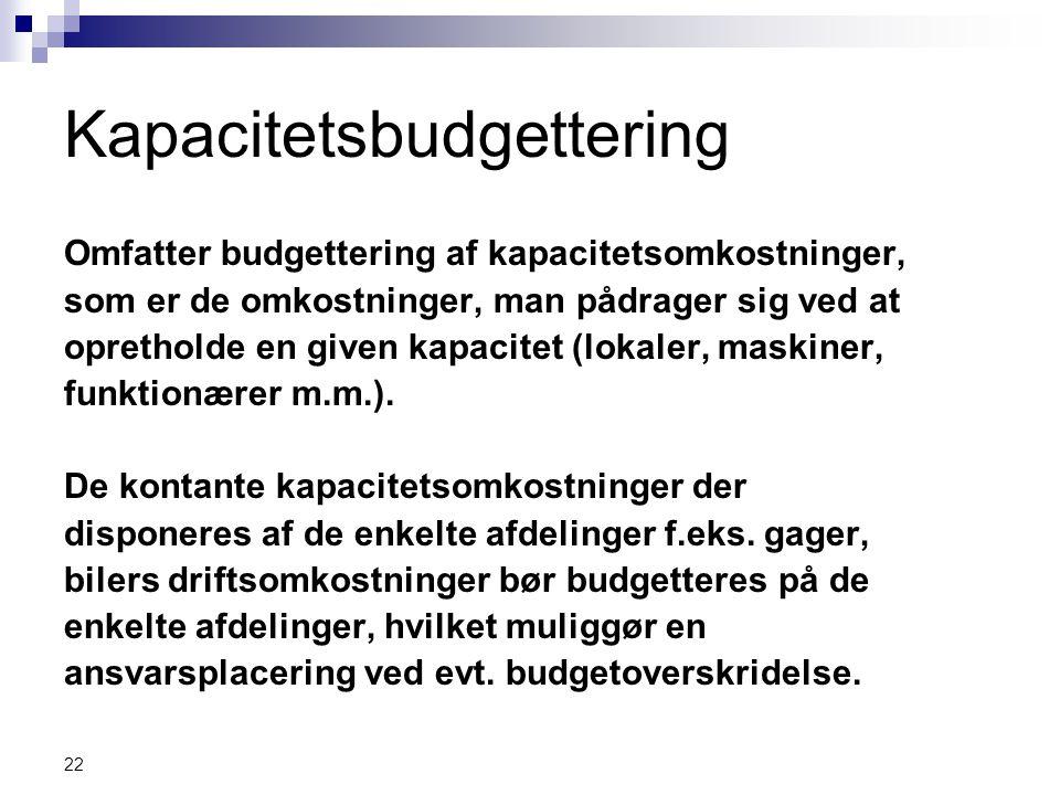 Kapacitetsbudgettering
