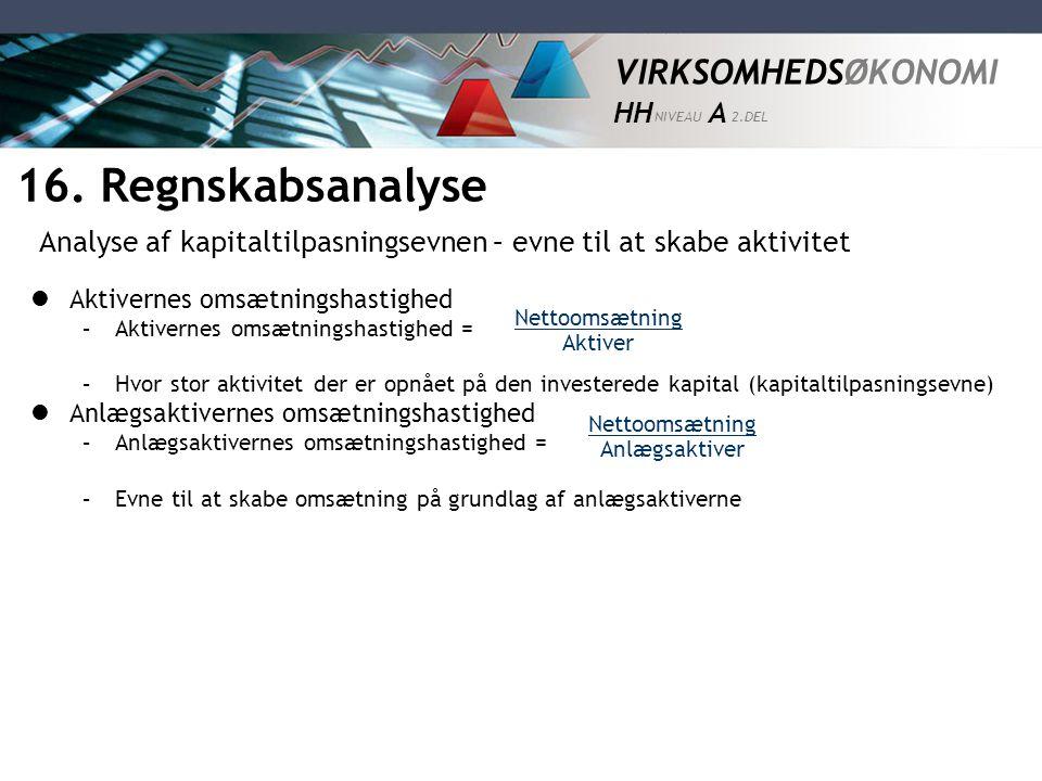 16. Regnskabsanalyse Analyse af kapitaltilpasningsevnen – evne til at skabe aktivitet. Aktivernes omsætningshastighed.