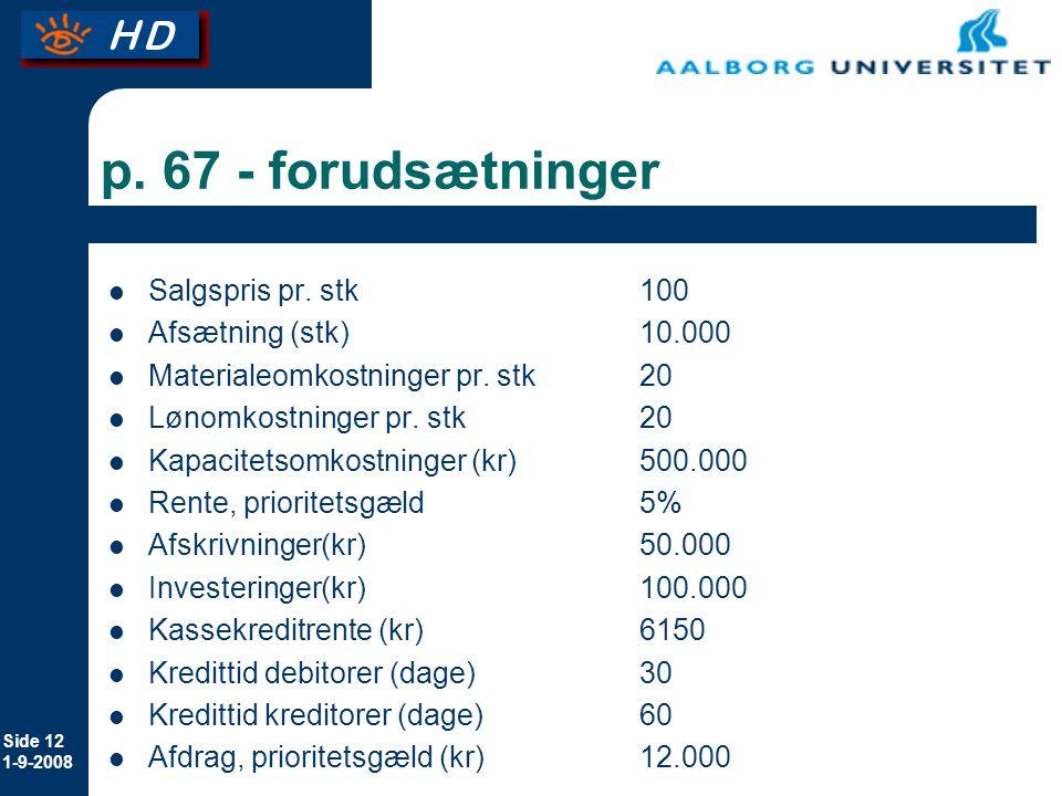 p. 67 - forudsætninger Salgspris pr. stk 100 Afsætning (stk) 10.000