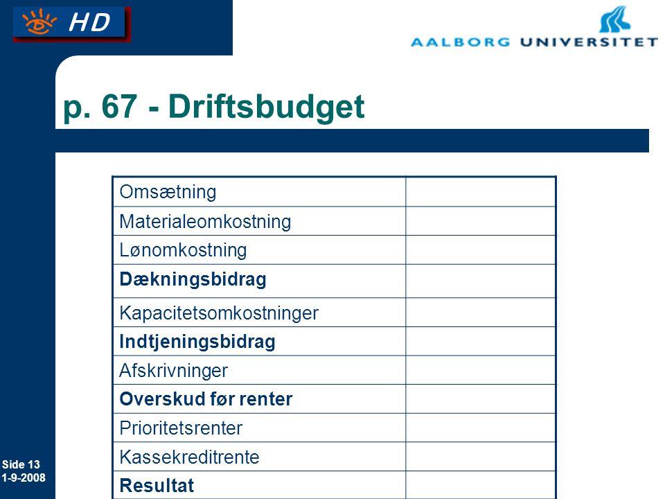p. 67 - Driftsbudget Omsætning Materialeomkostning Lønomkostning