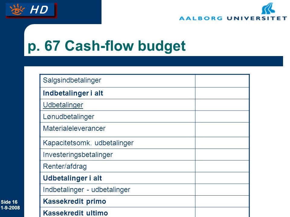 p. 67 Cash-flow budget Salgsindbetalinger Indbetalinger i alt