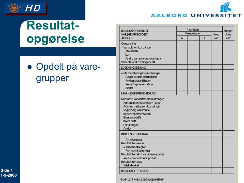Resultat-opgørelse Opdelt på vare-grupper