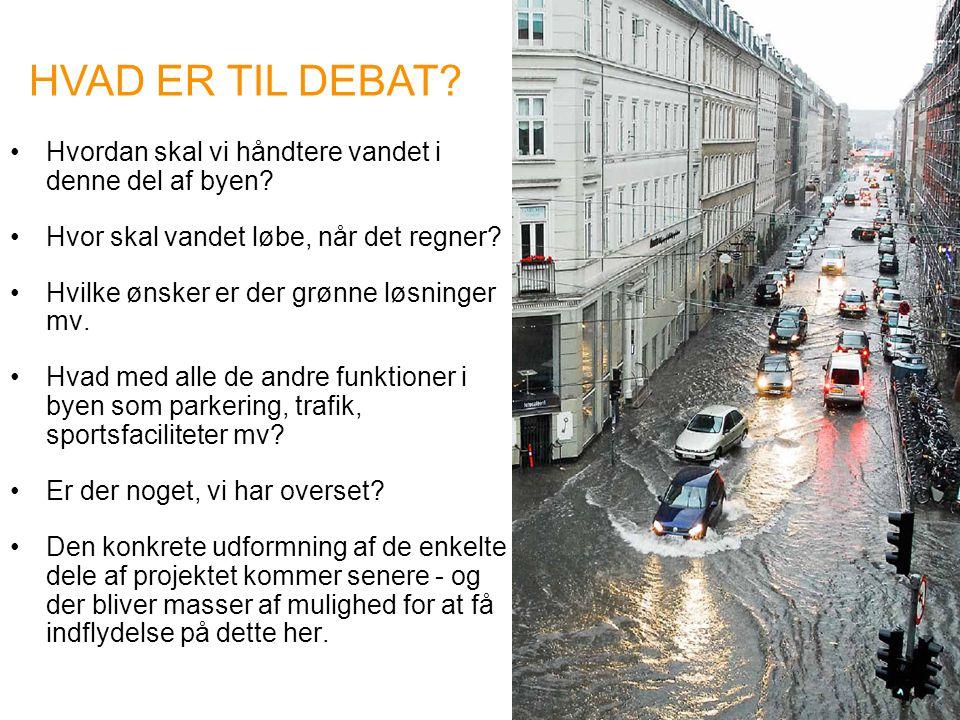 HVAD ER TIL DEBAT Hvordan skal vi håndtere vandet i denne del af byen Hvor skal vandet løbe, når det regner