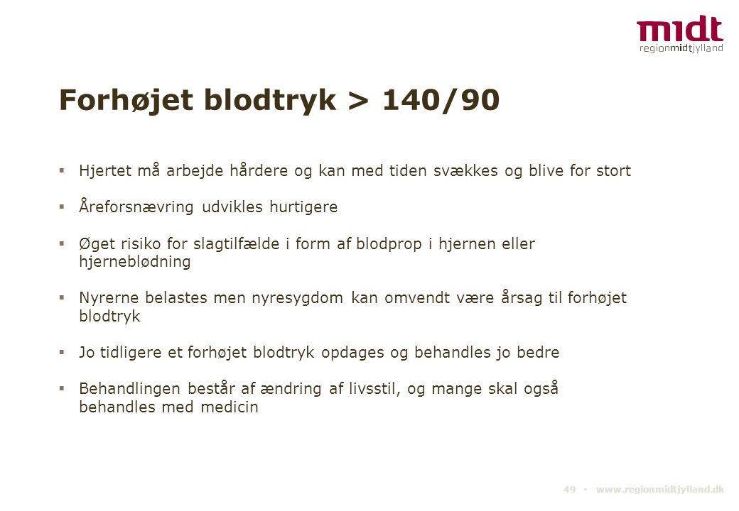 Forhøjet blodtryk > 140/90