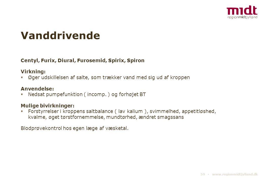 Vanddrivende Centyl, Furix, Diural, Furosemid, Spirix, Spiron