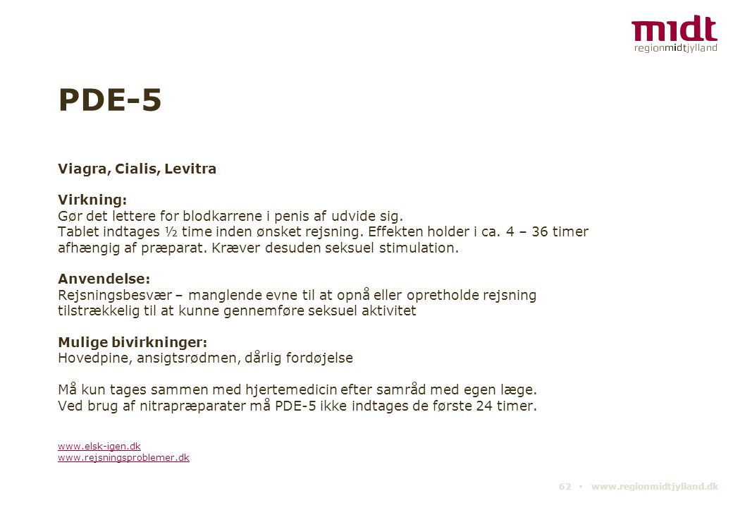 PDE-5 Viagra, Cialis, Levitra Virkning: