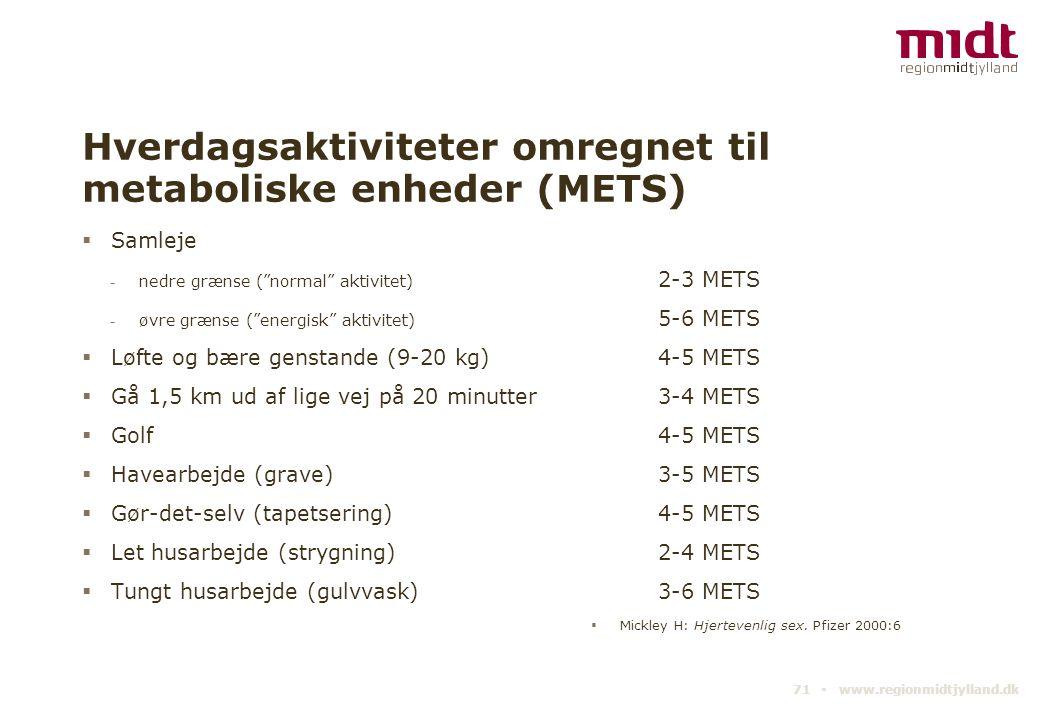 Hverdagsaktiviteter omregnet til metaboliske enheder (METS)