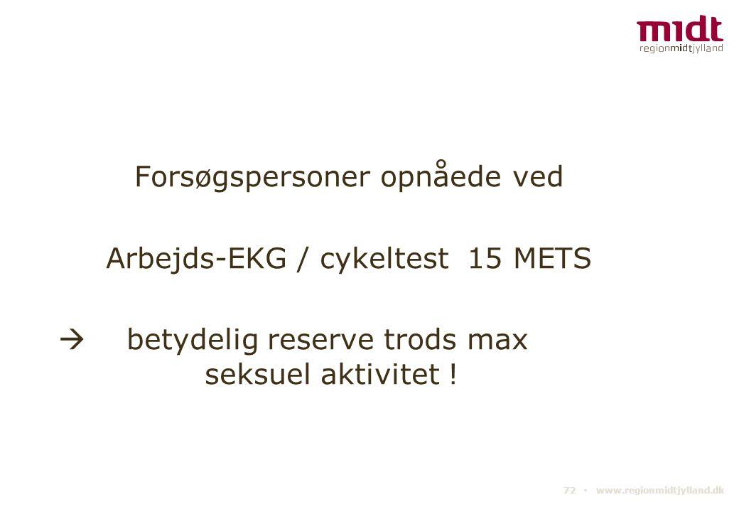 Forsøgspersoner opnåede ved Arbejds-EKG / cykeltest 15 METS  betydelig reserve trods max seksuel aktivitet !
