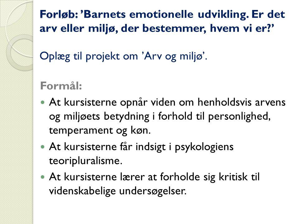Forløb: 'Barnets emotionelle udvikling