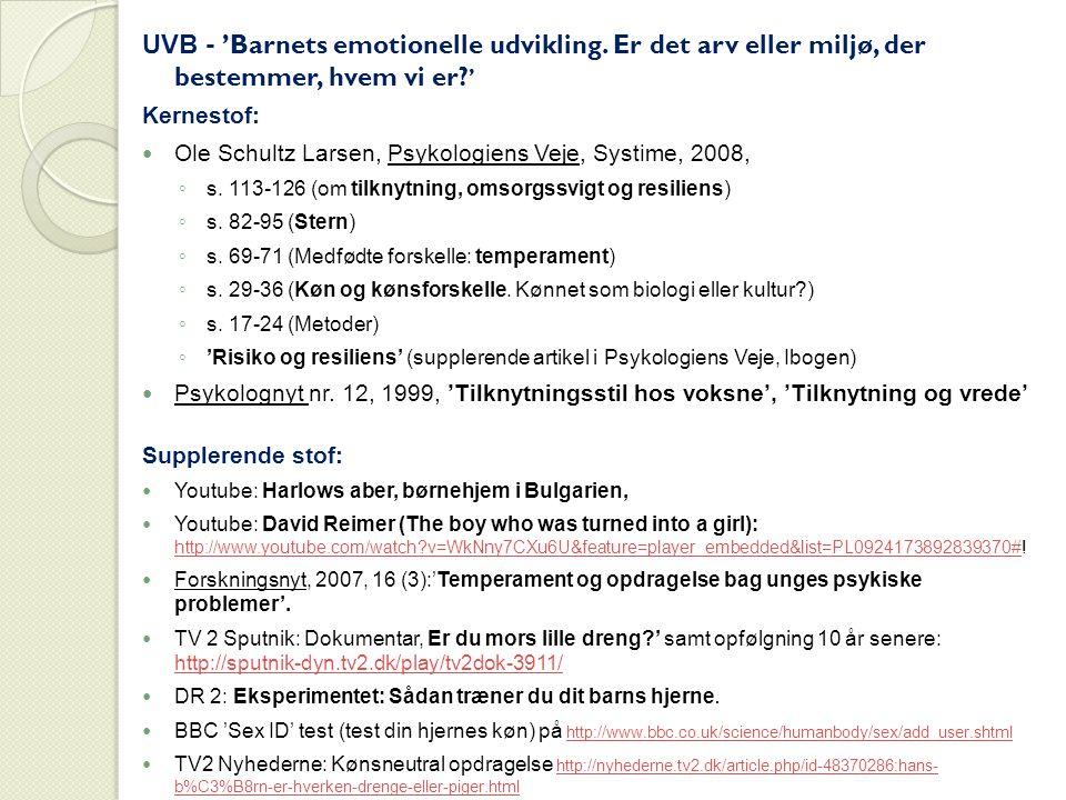 UVB - 'Barnets emotionelle udvikling