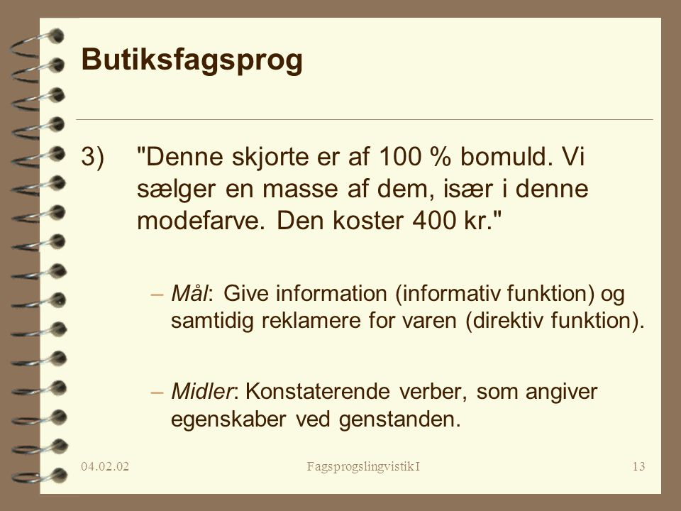 Fagsprogslingvistik I