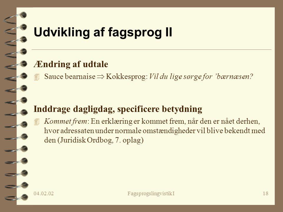 Udvikling af fagsprog II