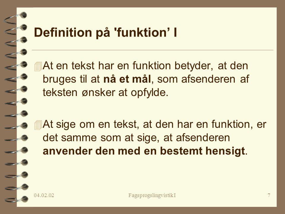 Definition på funktion' I