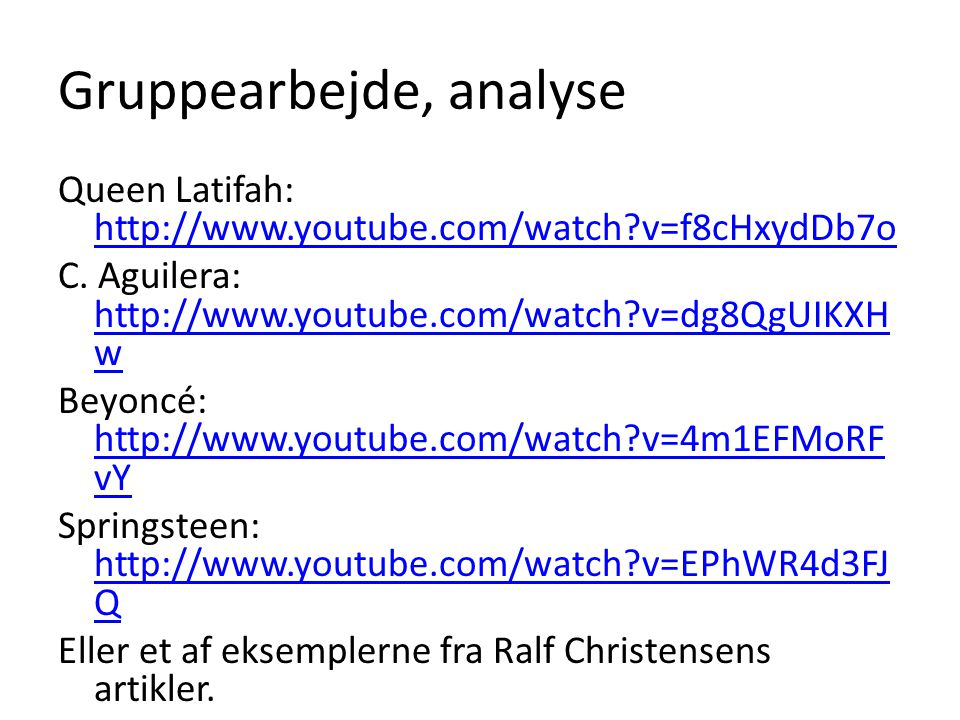 Gruppearbejde, analyse