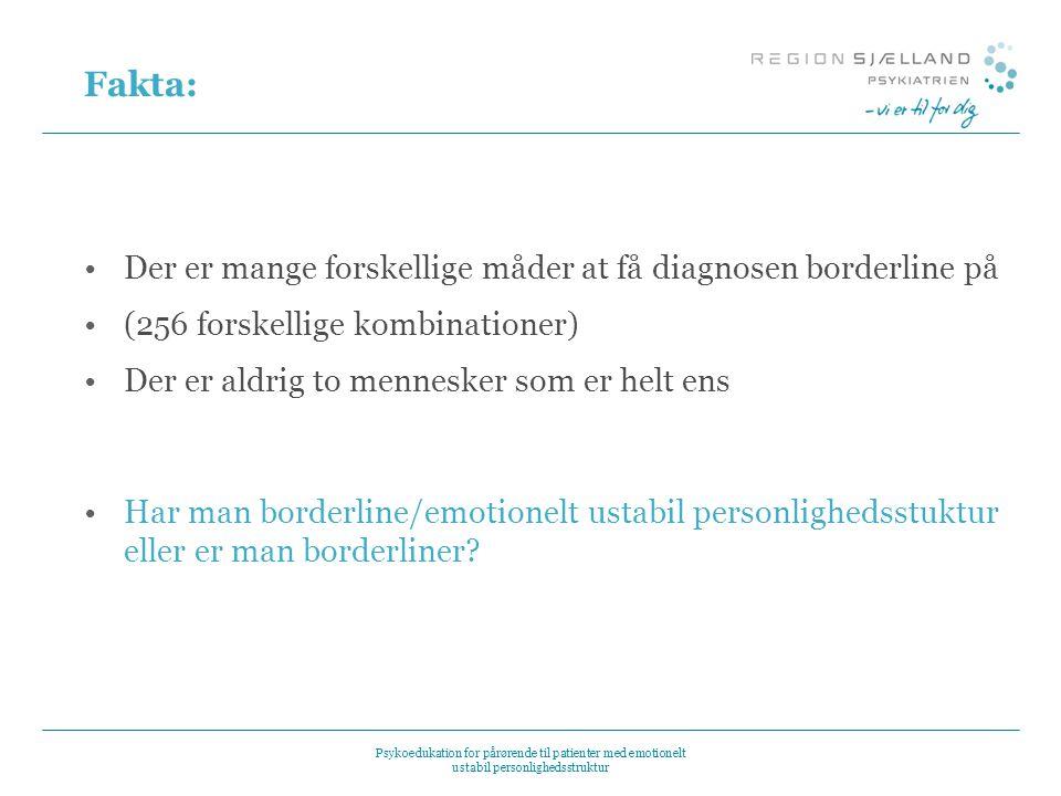 Fakta: Der er mange forskellige måder at få diagnosen borderline på