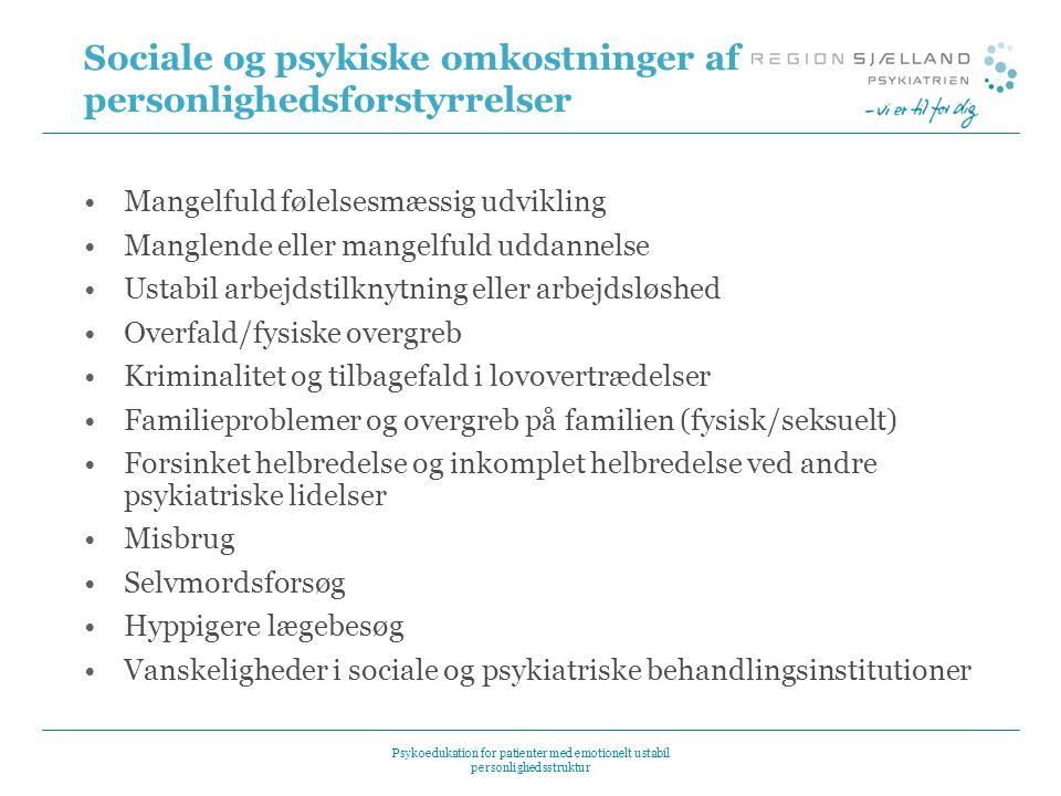 Sociale og psykiske omkostninger af personlighedsforstyrrelser
