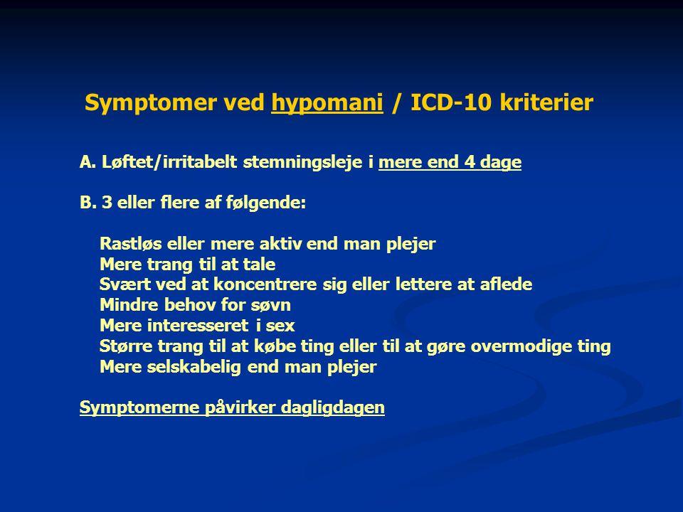 Symptomer ved hypomani / ICD-10 kriterier